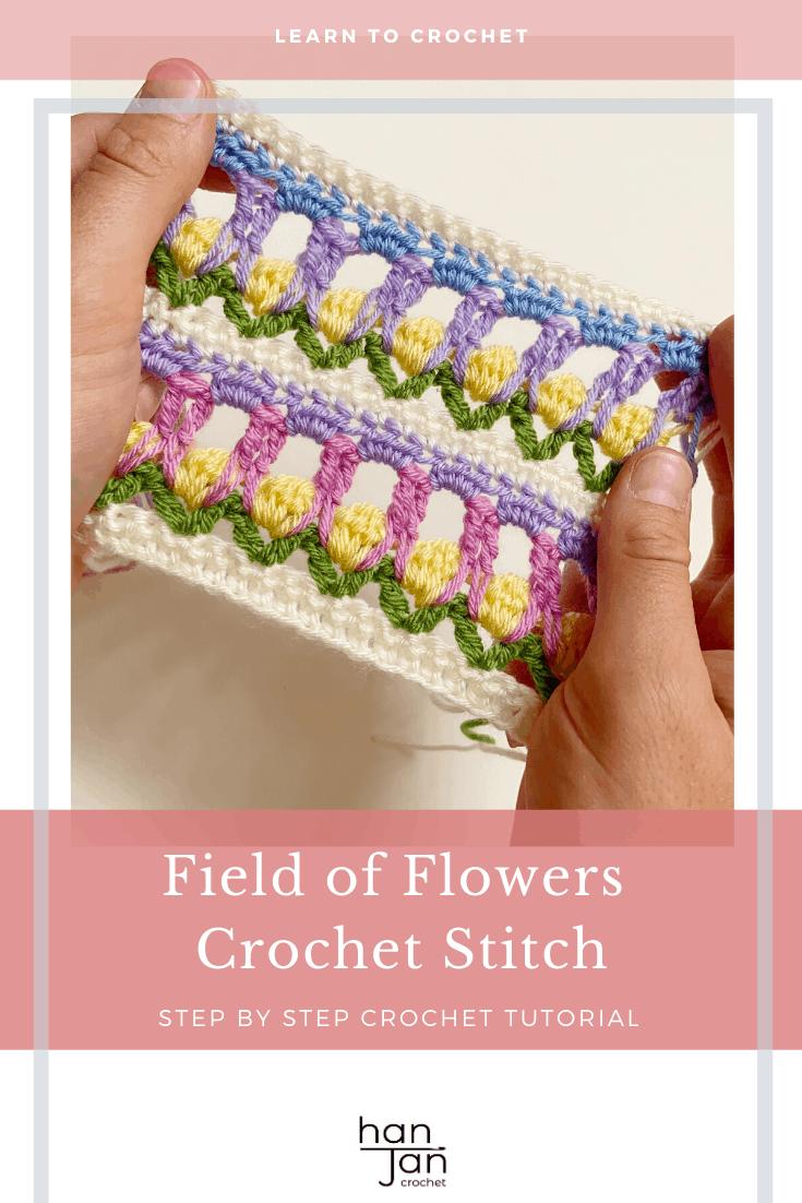 field of flowers crochet stitch tutorial