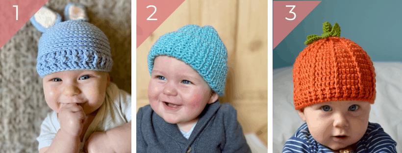 three baby beanie hats, a bunny hat, a plain hat and a pumpkin beanie hat
