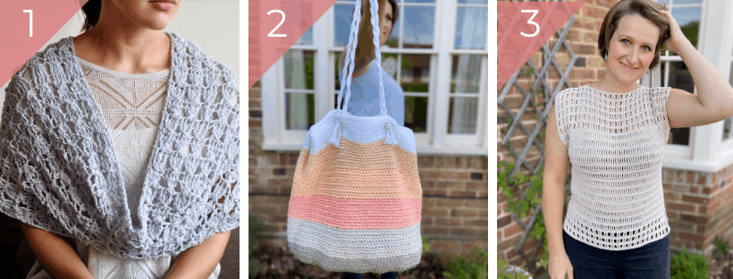 summer crochet top, bag and cowl pattern