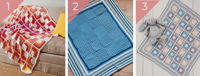 three crochet blankets