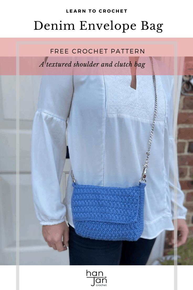 cross body denim blue crochet bag on woman in white shirt