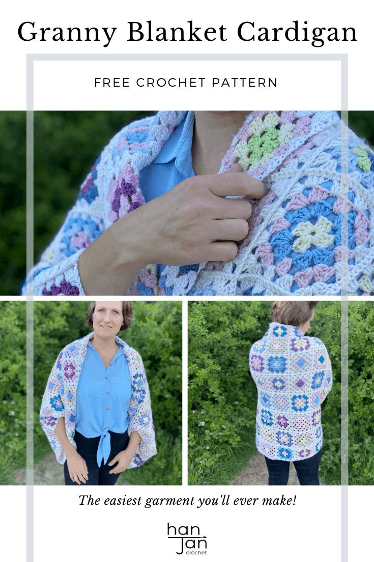 Granny Square Blanket Cardigan Crochet Pattern 2