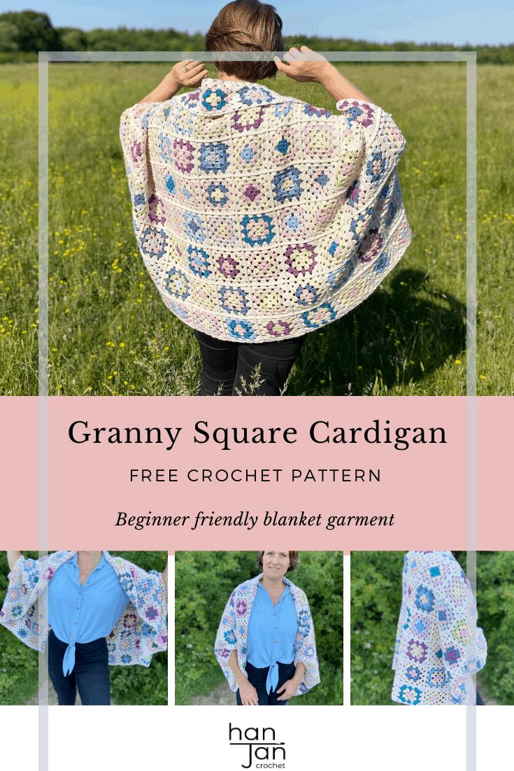Granny Square Blanket Cardigan Crochet Pattern 3