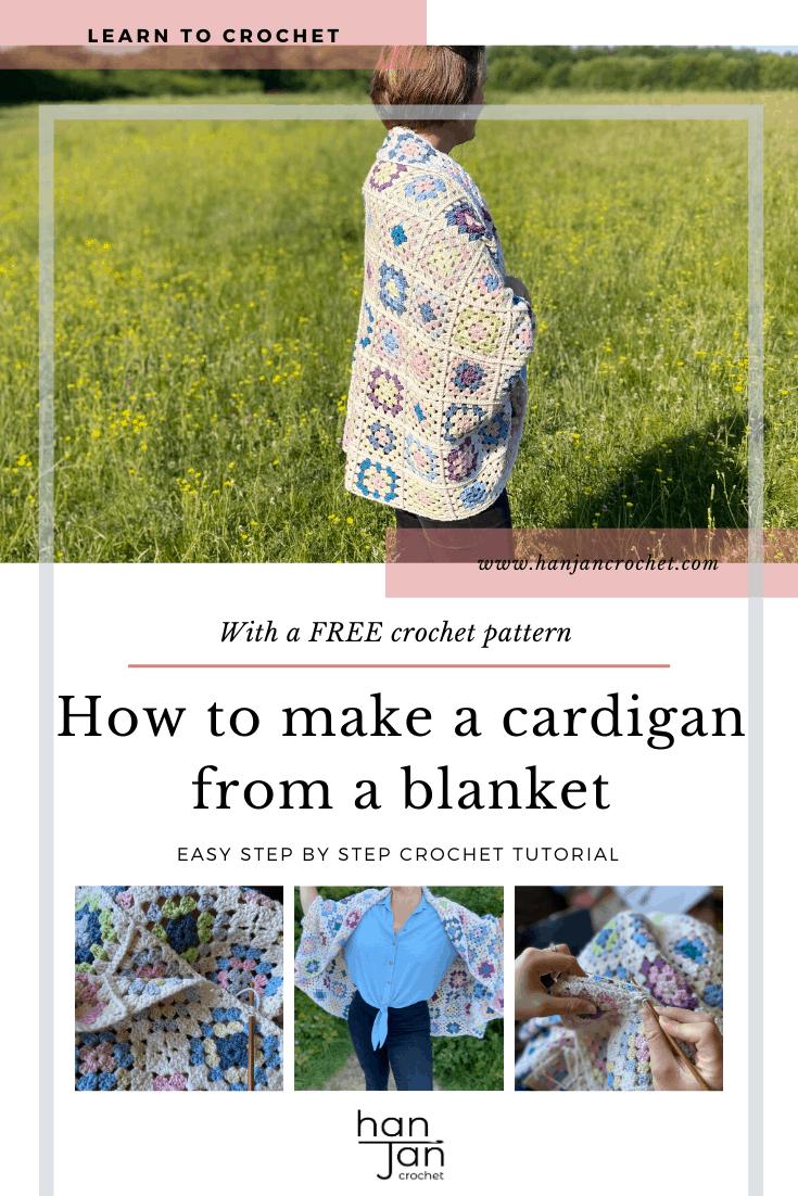 Granny Square Blanket Cardigan Tutorial 1