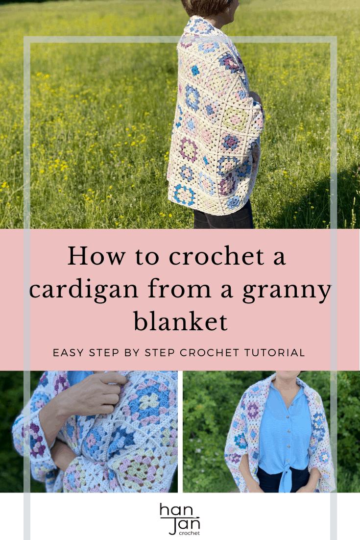 Granny Square Blanket Cardigan Tutorial 3
