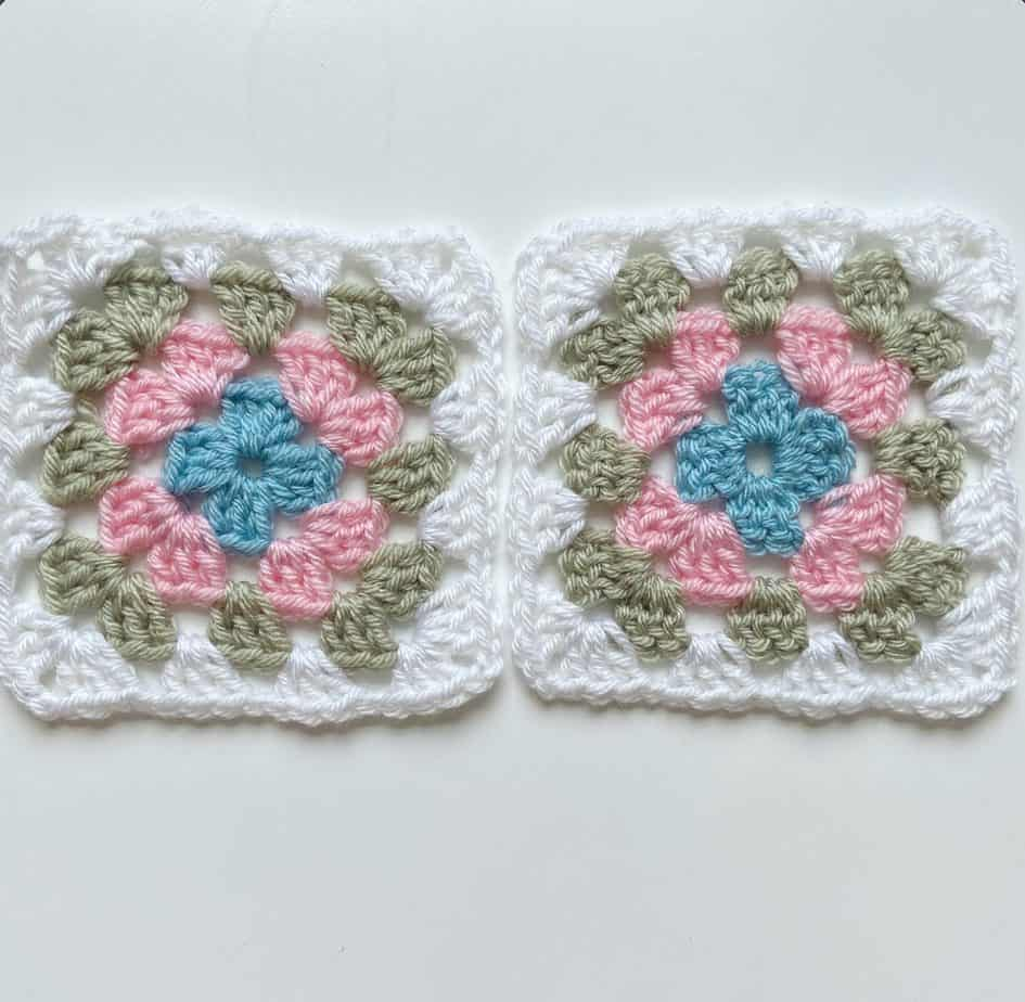 traditional granny squares, straight and twisted versions.