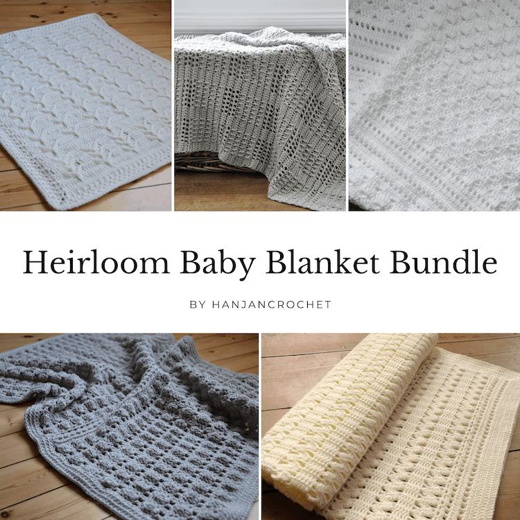 white, grey and cream crochet baby blankets