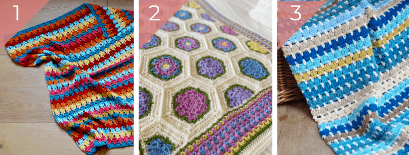 three bright and colourful crochet baby blankets