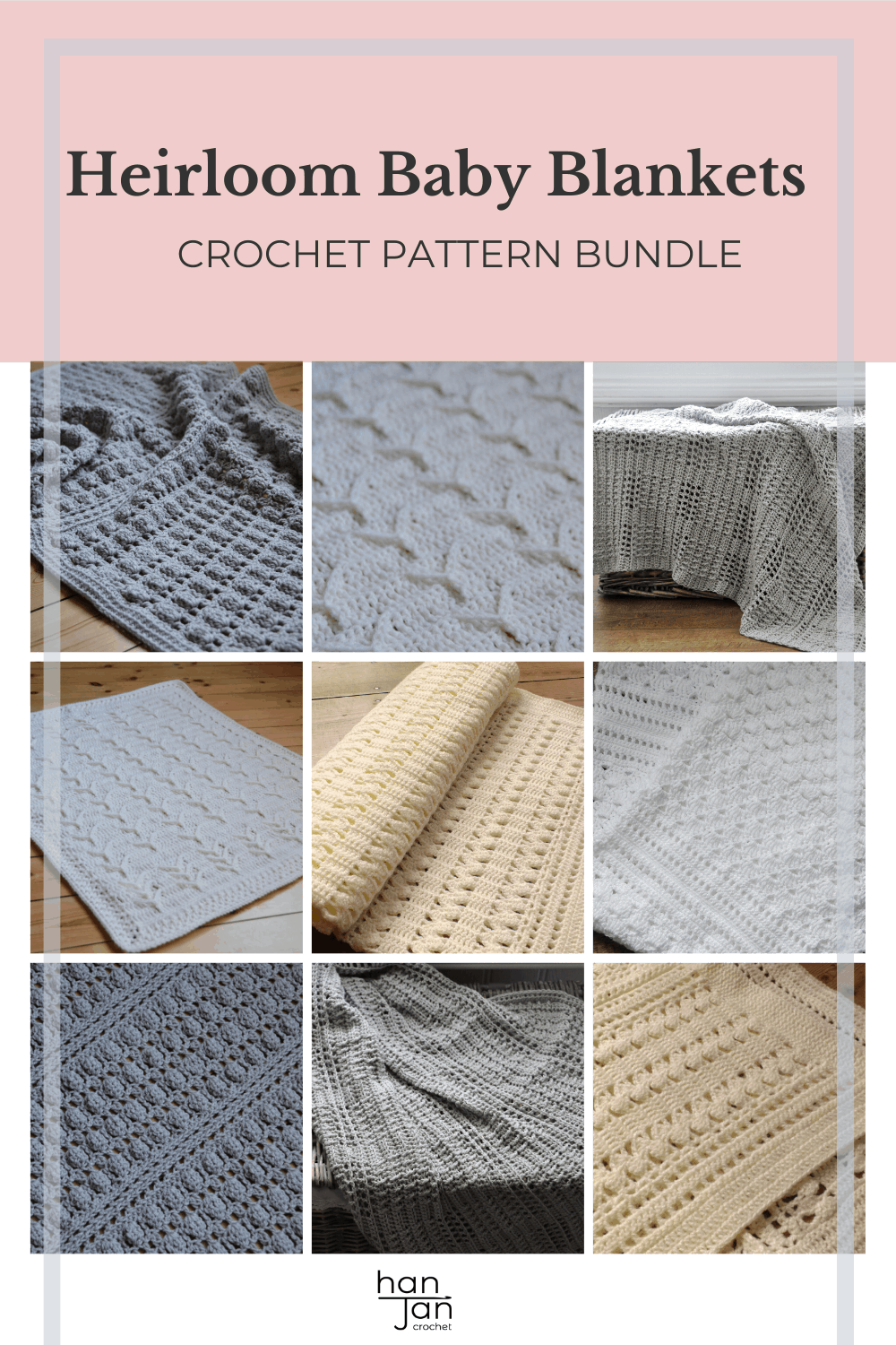 6 classic baby blankets in white, cream and grey