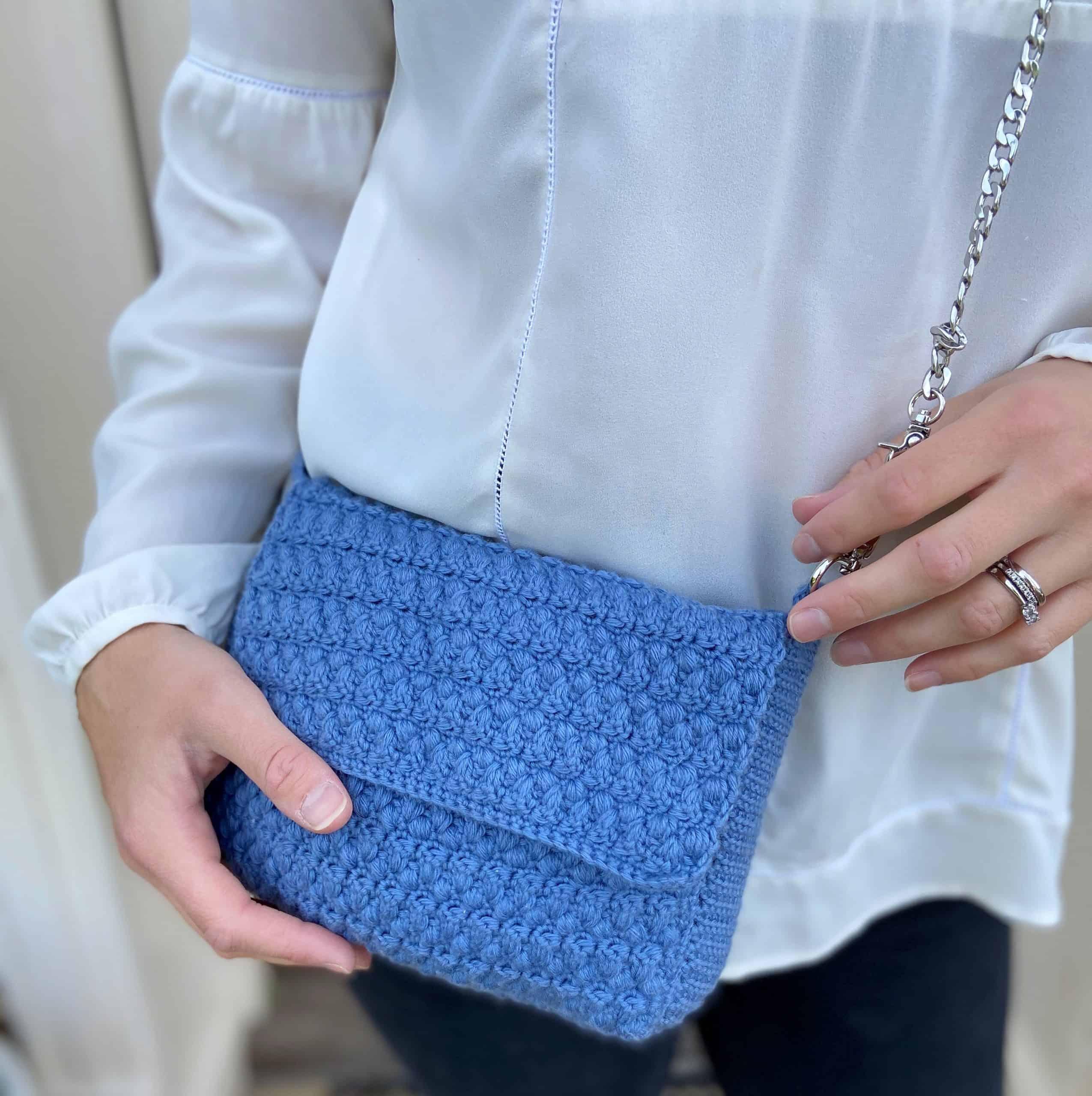 denim blue crochet shoulder bag