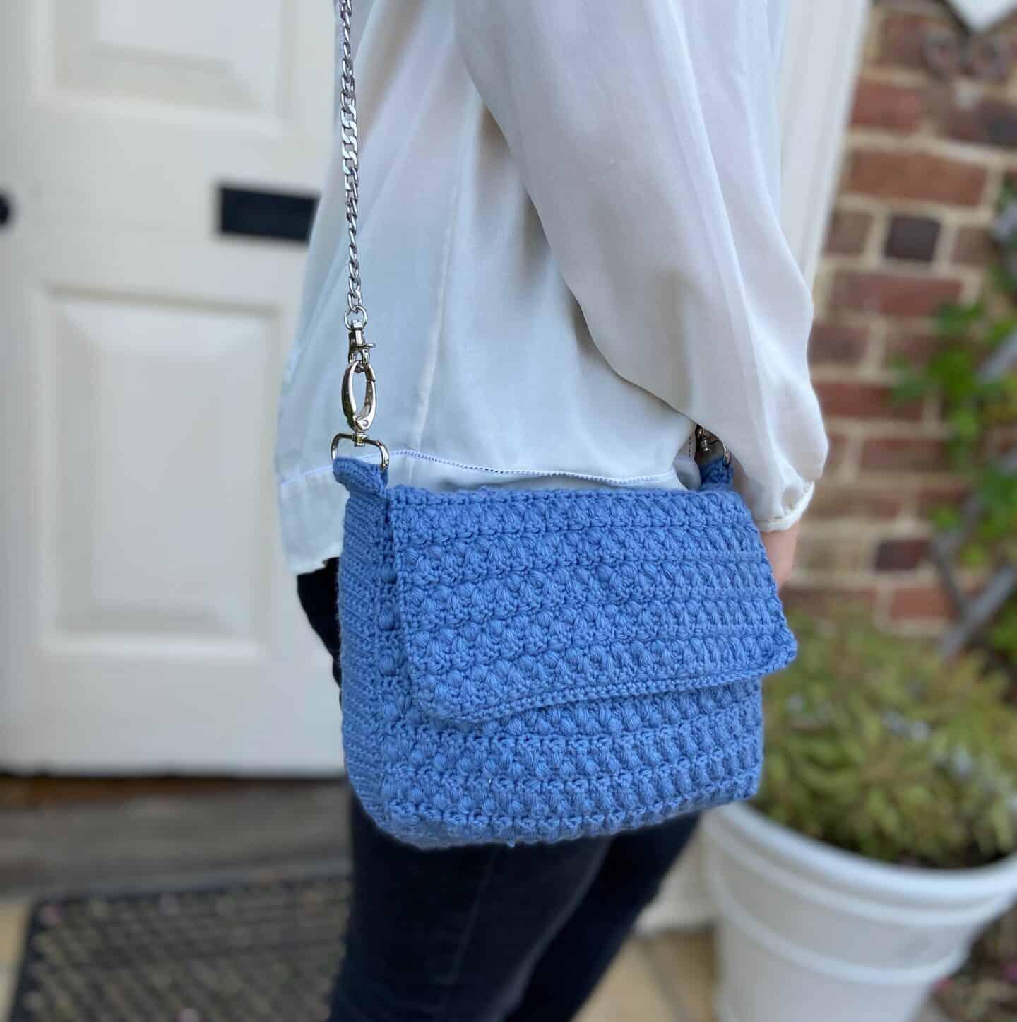 denim crochet shoulder bag