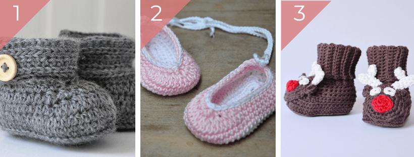 baby crochet boots, baby ballet shoes, baby reindeer slippers