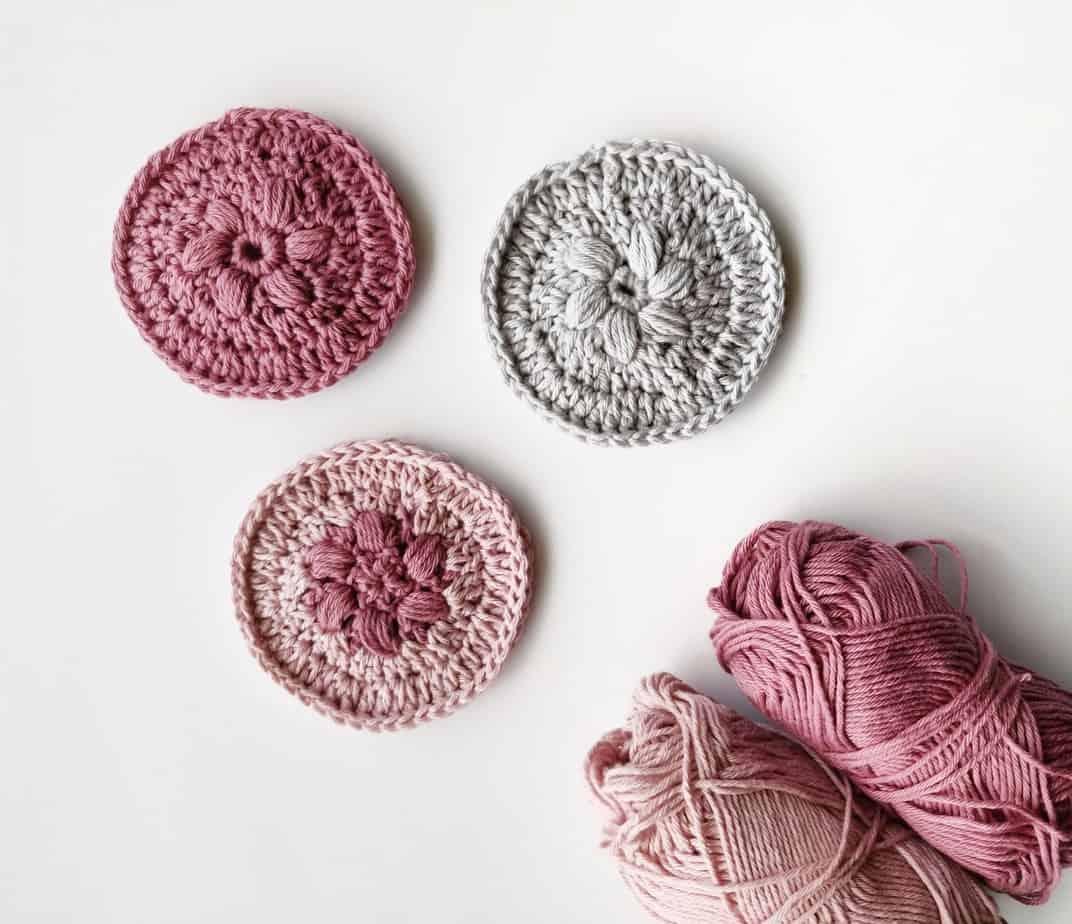 crochet flower face scrubbies