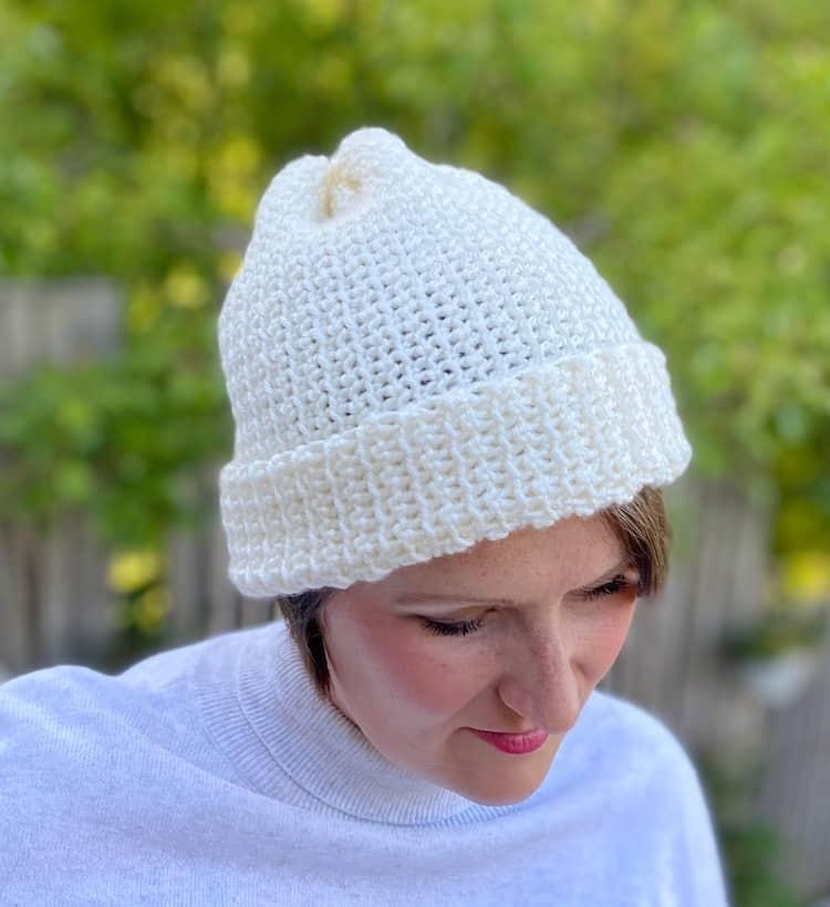 cream crochet beanie hat for winter