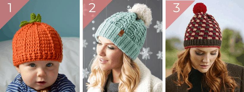 3 crochet hat patterns