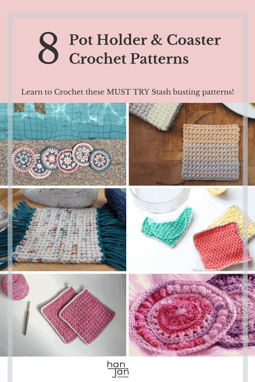 8 free crochet coaster and pot holder patterns