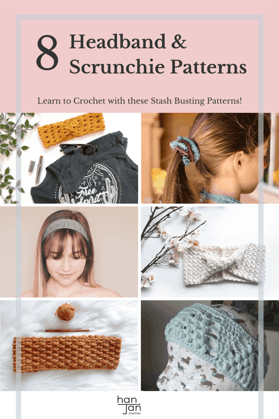 8 quick crochet headband and scrunchie patterns shown in a grid.