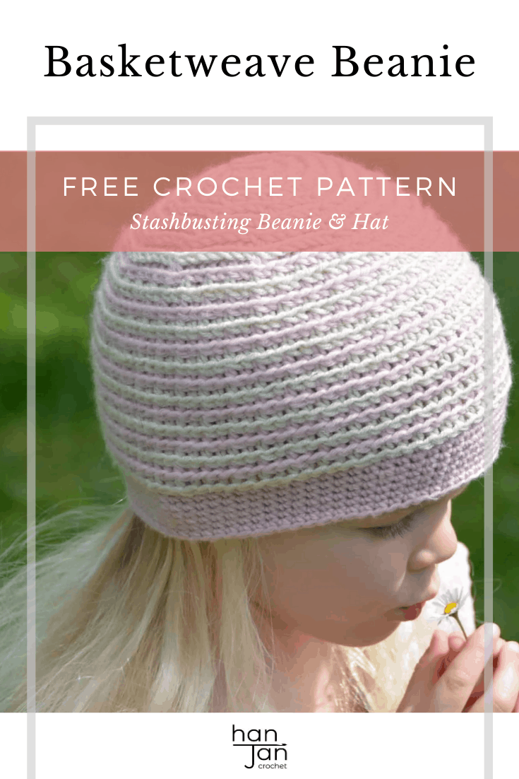 crochet beanie hat in pink and white on a little girl