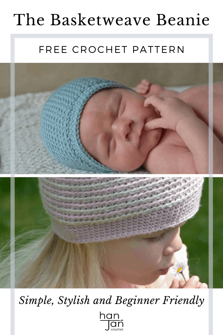 crochet beanie hat in pink and white on a little girl and in blue on newborn baby