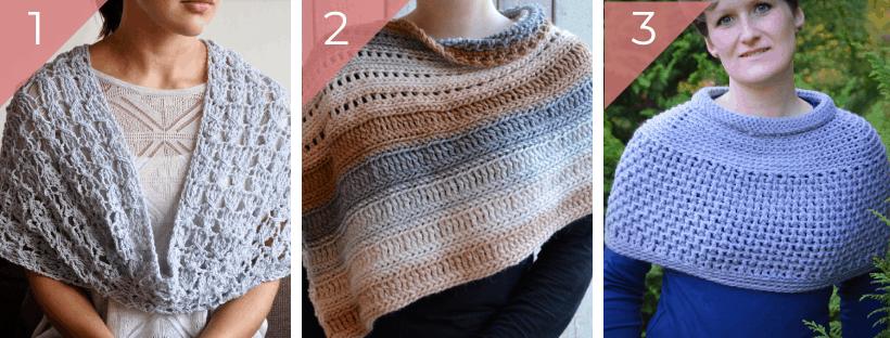 crochet cowl, wrap and cape