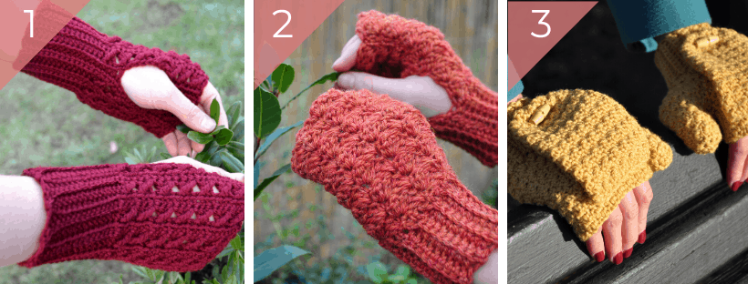 crochet mittens in red, orange and yellow