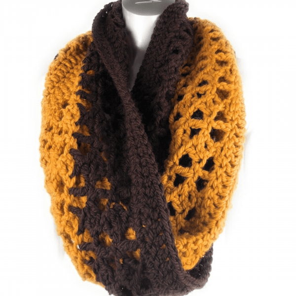 yellow and brown lace crochet scarf