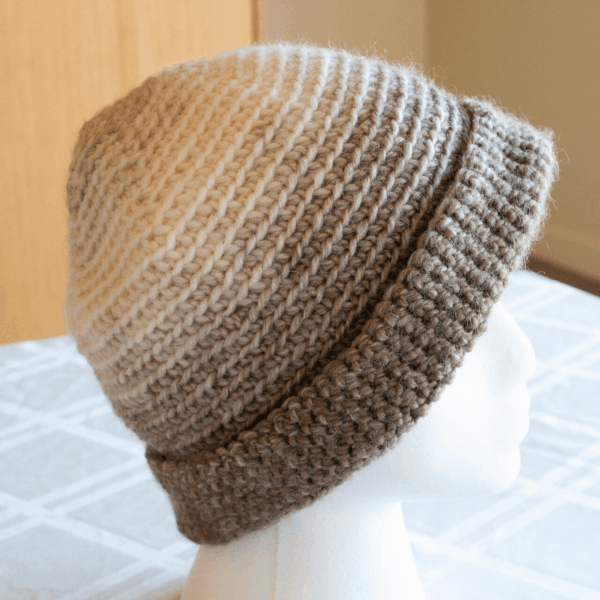 grey and cream ombre crochet beanie hat
