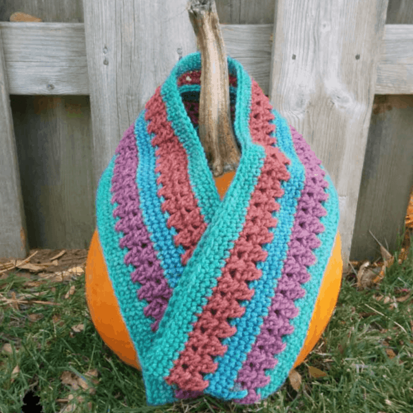 bright blue and orange stripe crochet scarf