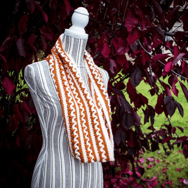orange and white crochet scarf