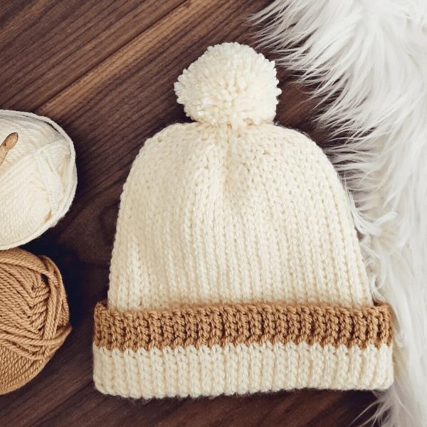 cream and brown crochet bobble hat