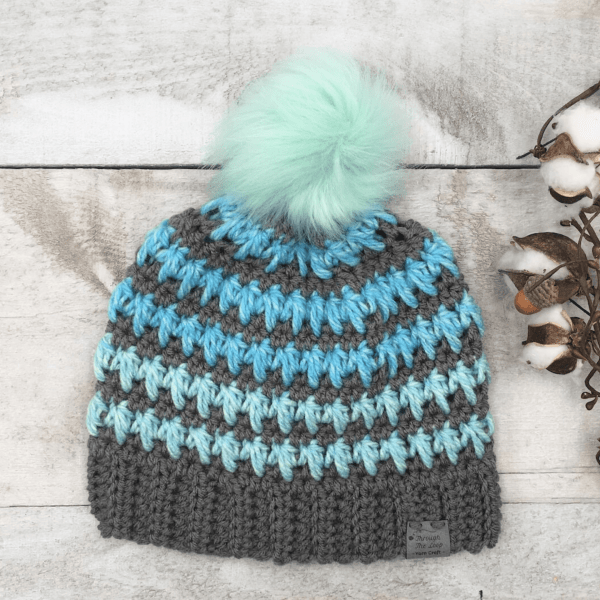 grey and blue striped crochet bobble hat
