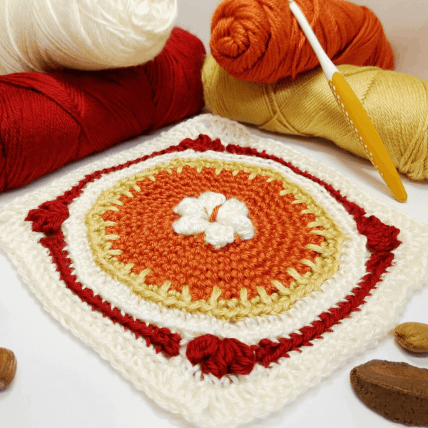 red, orange and yellow crochet square
