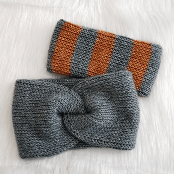 2 crochet headbands in grey and orange