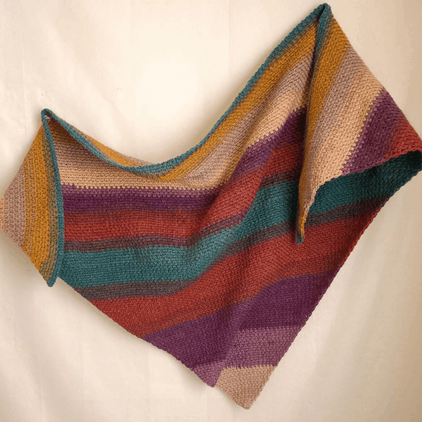 orange, yellow and green triangle crochet shawl