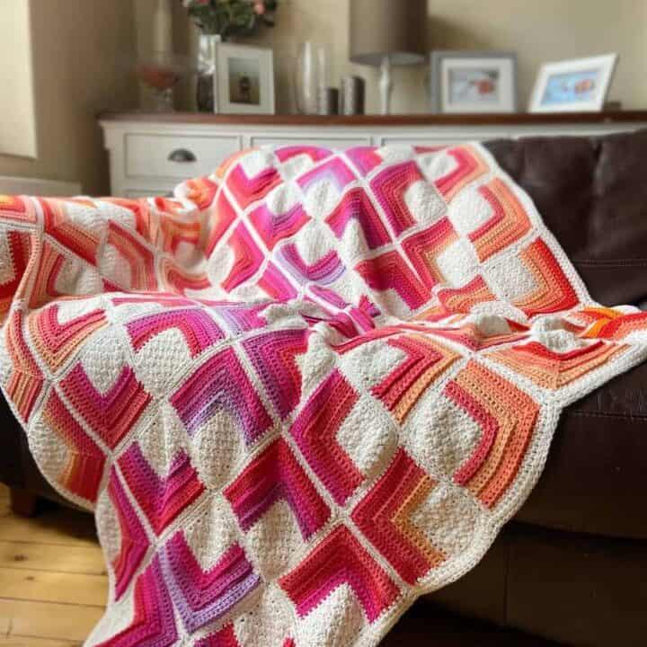 Hot Square Crochet Blanket Pattern 1