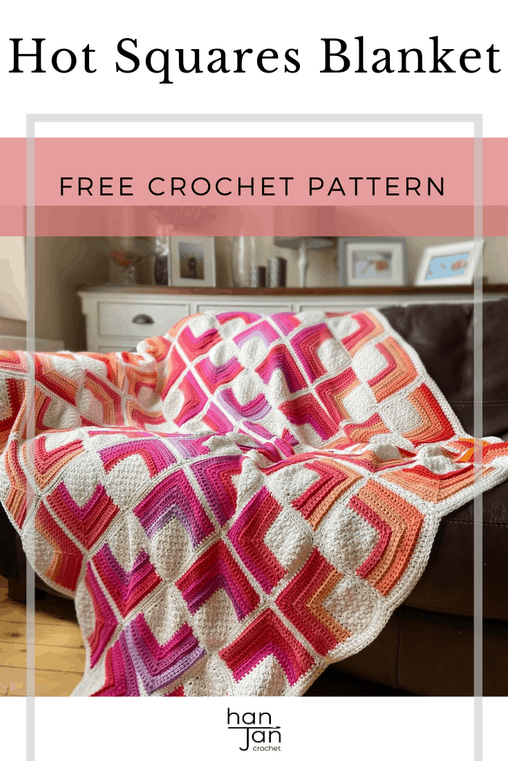 ombre crochet square motif blanket in bright colours laid on sofa