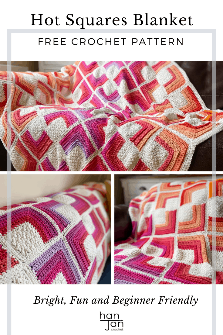 hot crochet square motif blanket in bright colours draped on a sofa