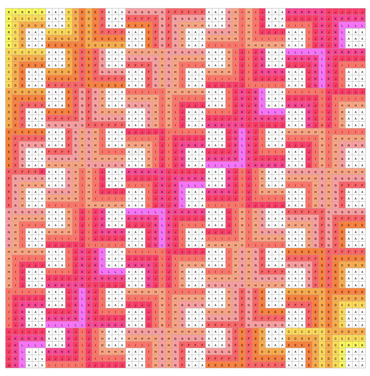 colour chart for crochet square motif blanket