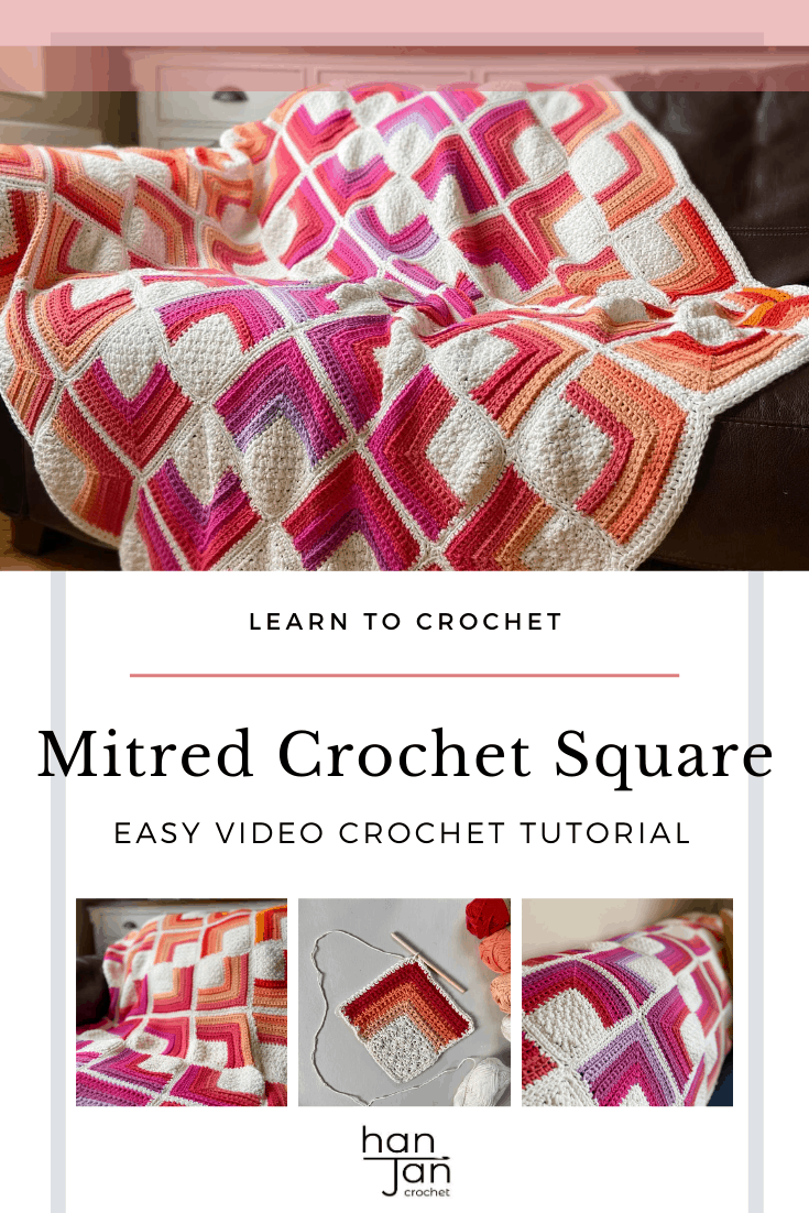 mitred crochet square motif blanket in bright colours