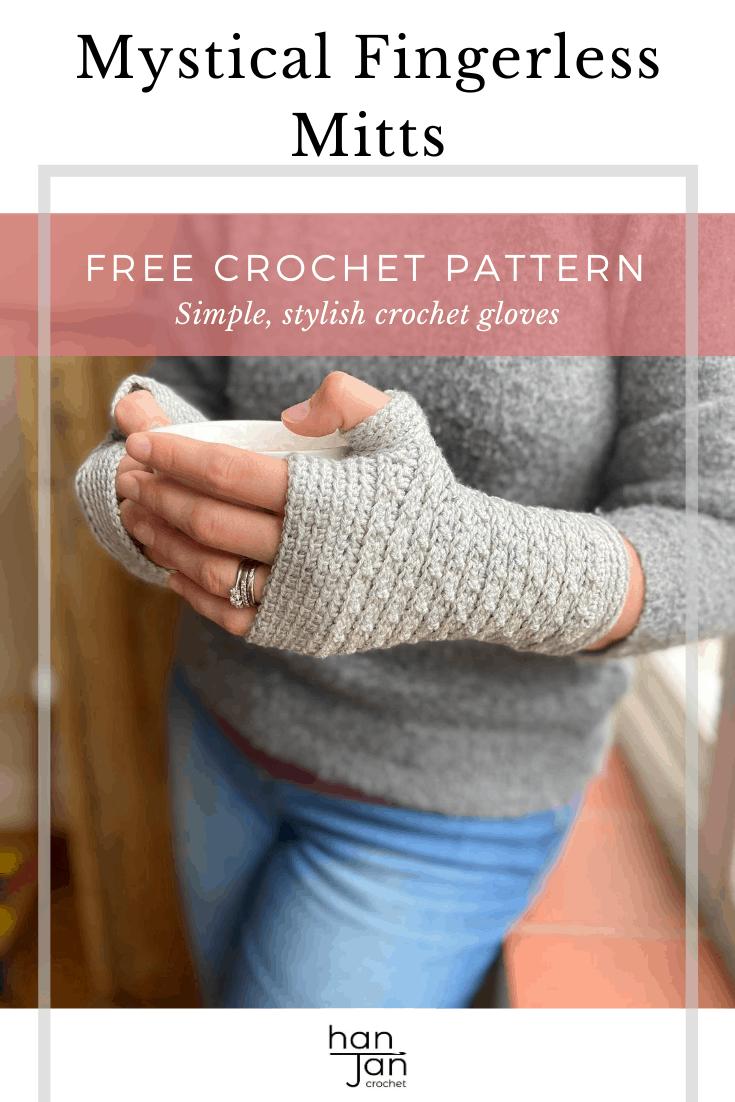 woman wearing crochet fingerless gloves pattern holding coffee cup