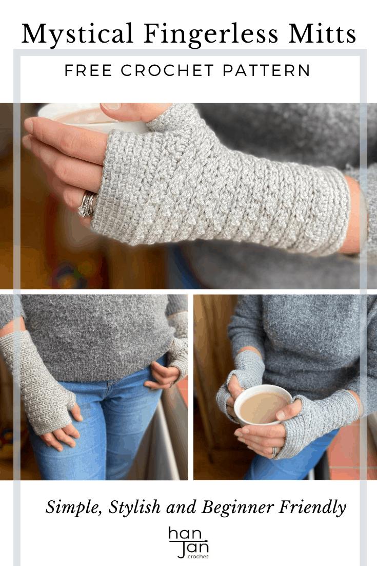 grey crochet fingerless gloves pattern