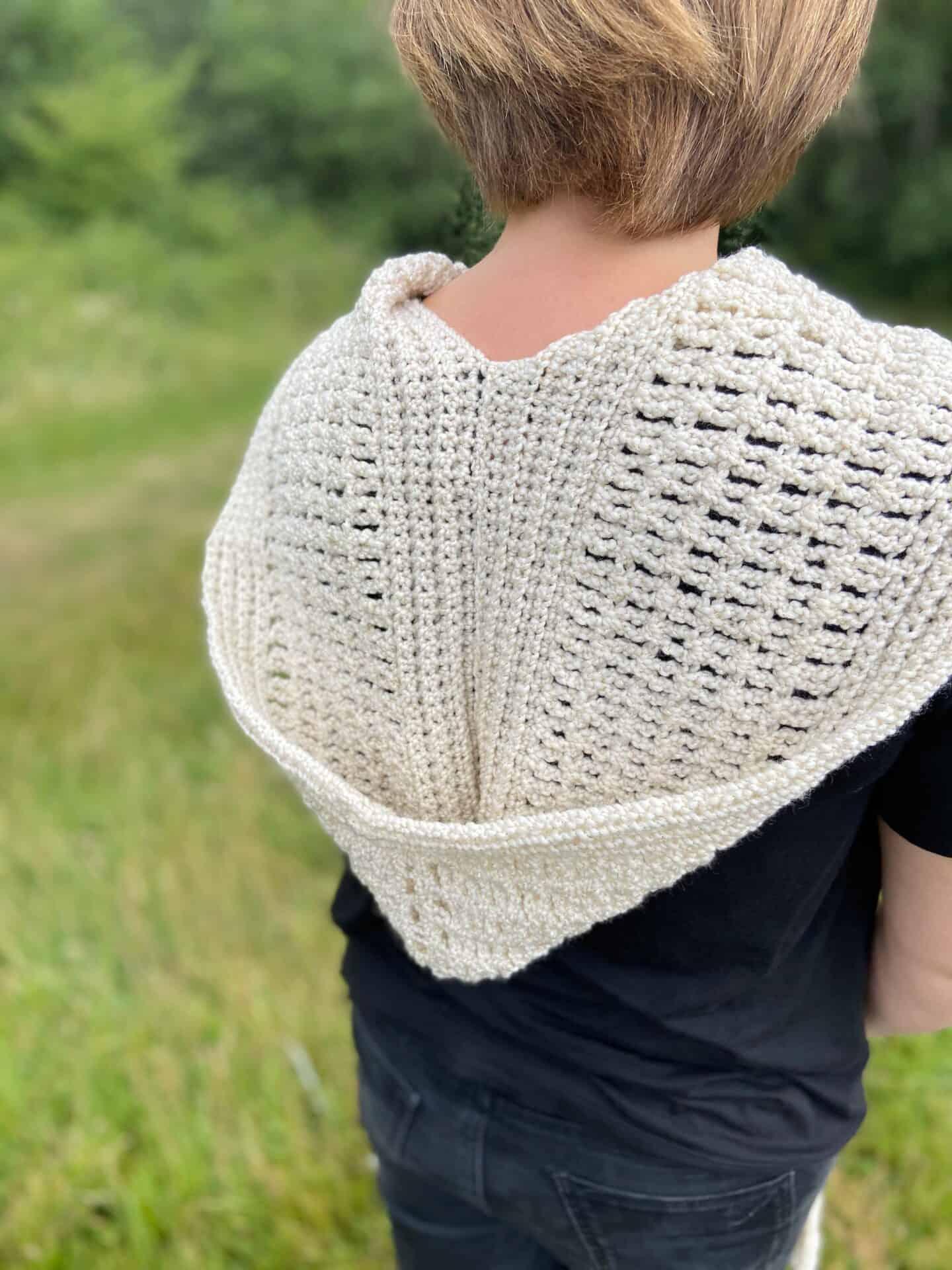 crochet hood in cream from a pocket crochet shawl