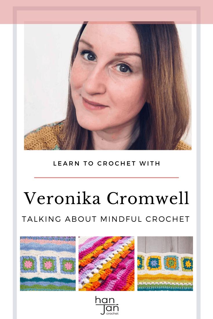 Veronika Cromwell crochet designer with bright mindfulness crochet blanket