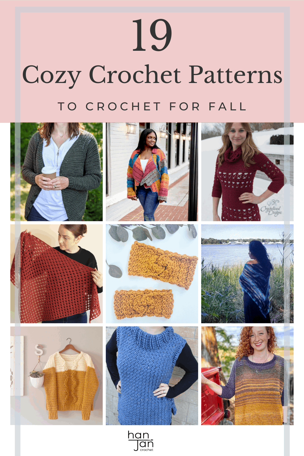 19 cozy crochet patterns for Fall including jumpers, cardigans and shawls