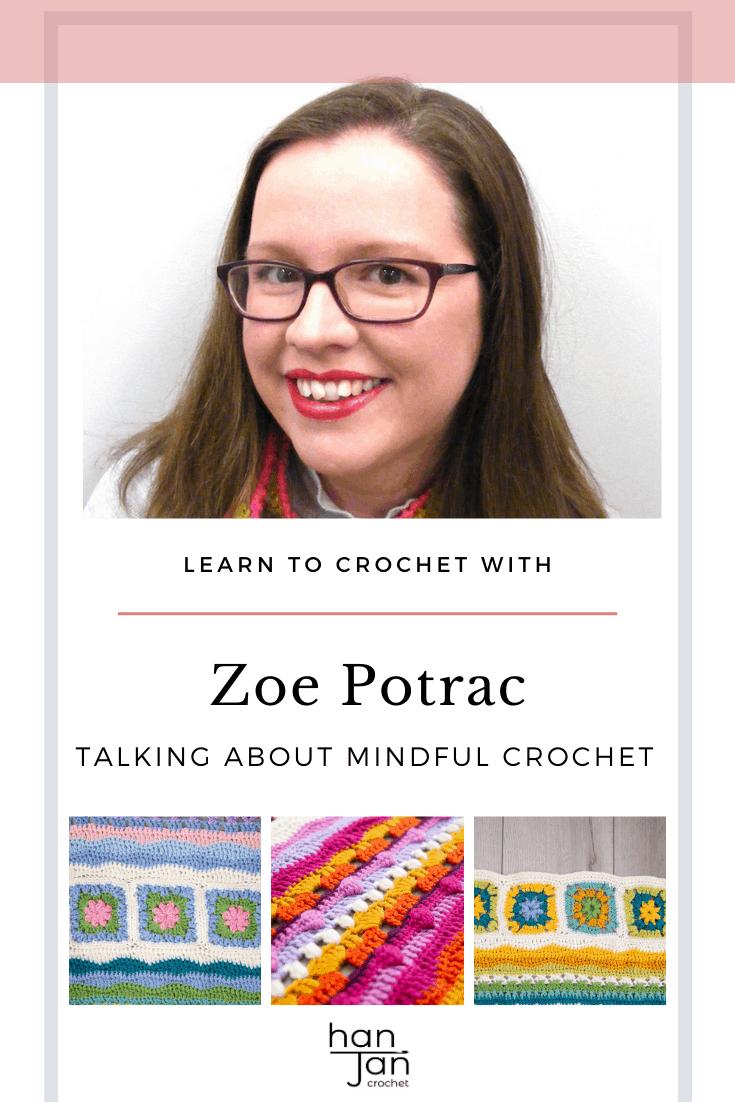 Zoe Potrac headshot and colourful crochet blanket pattern