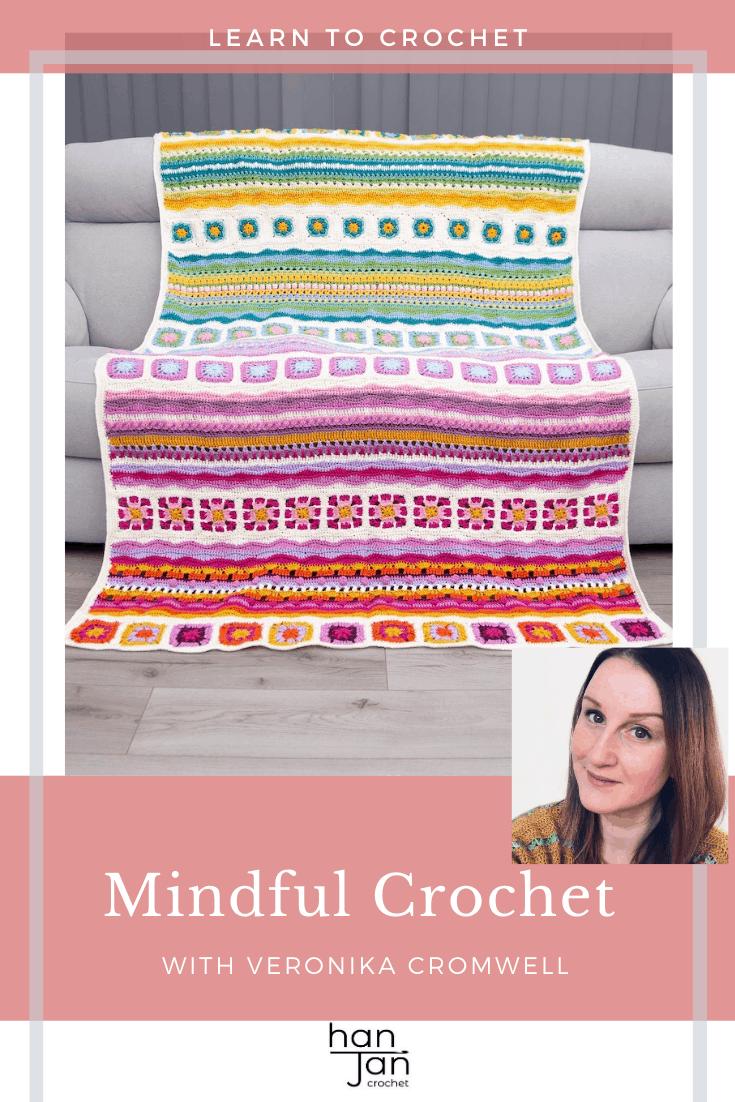 Mindfulness Crochet Blanket CAL, bright, colourful crochet blanket on grey sofa