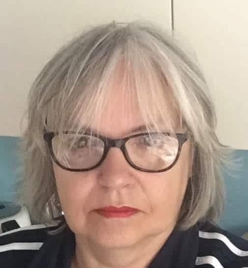Fran Morgan crochet and knit designer wearing glasses