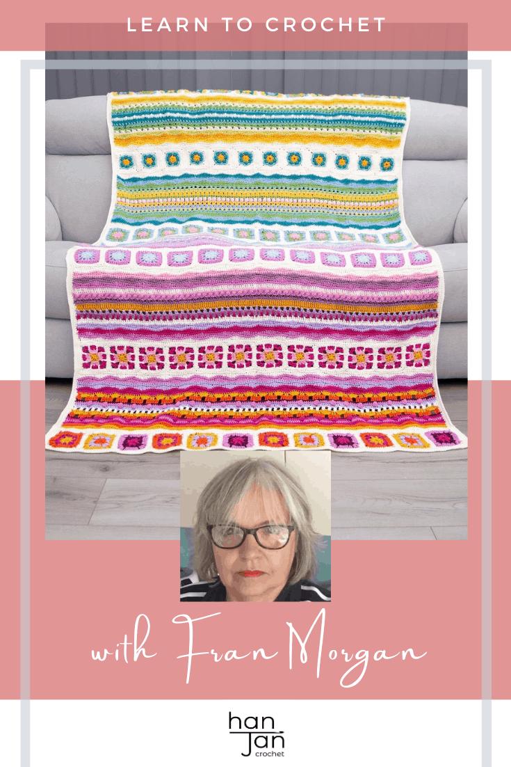 Fran Morgan crochet designer colourful crochet blanket CAL on grey sofa