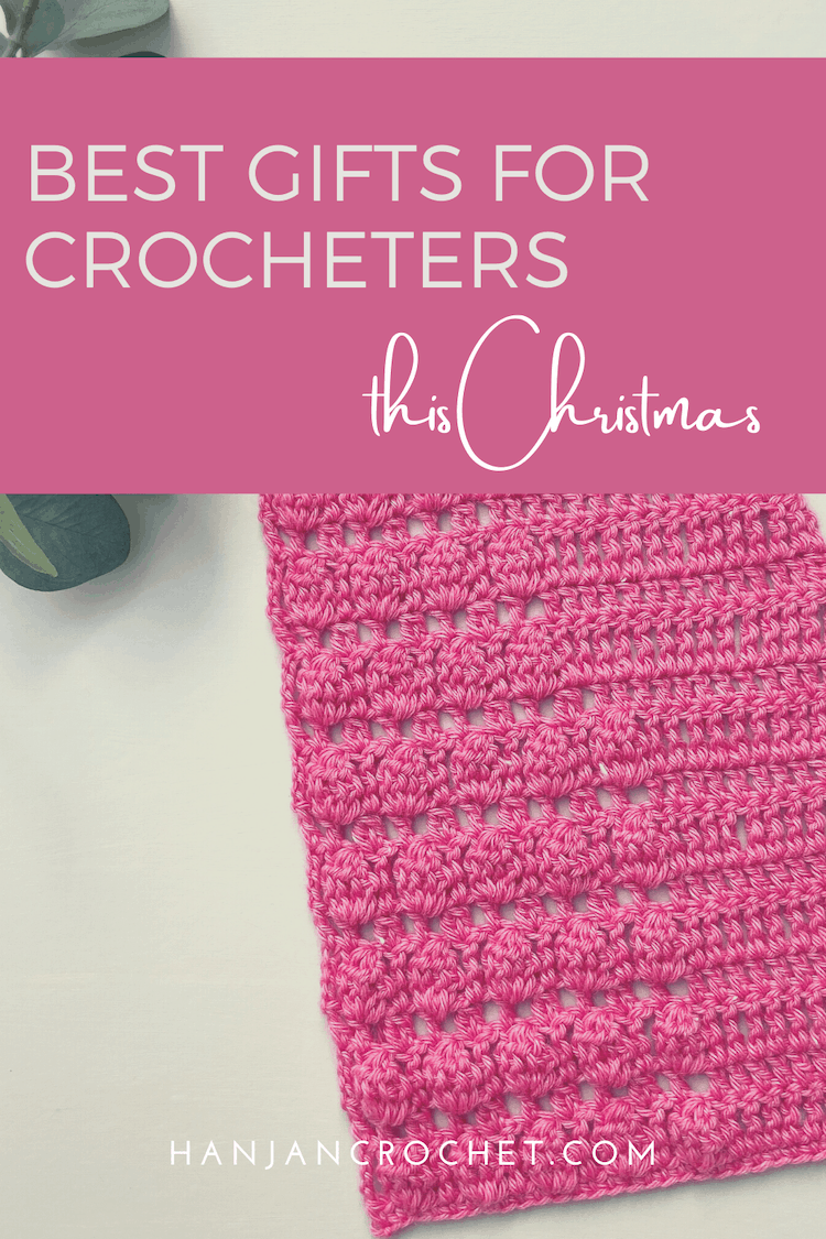 best gift ideas for crocheters showing blue crochet scarf, crochet hook and leaves
