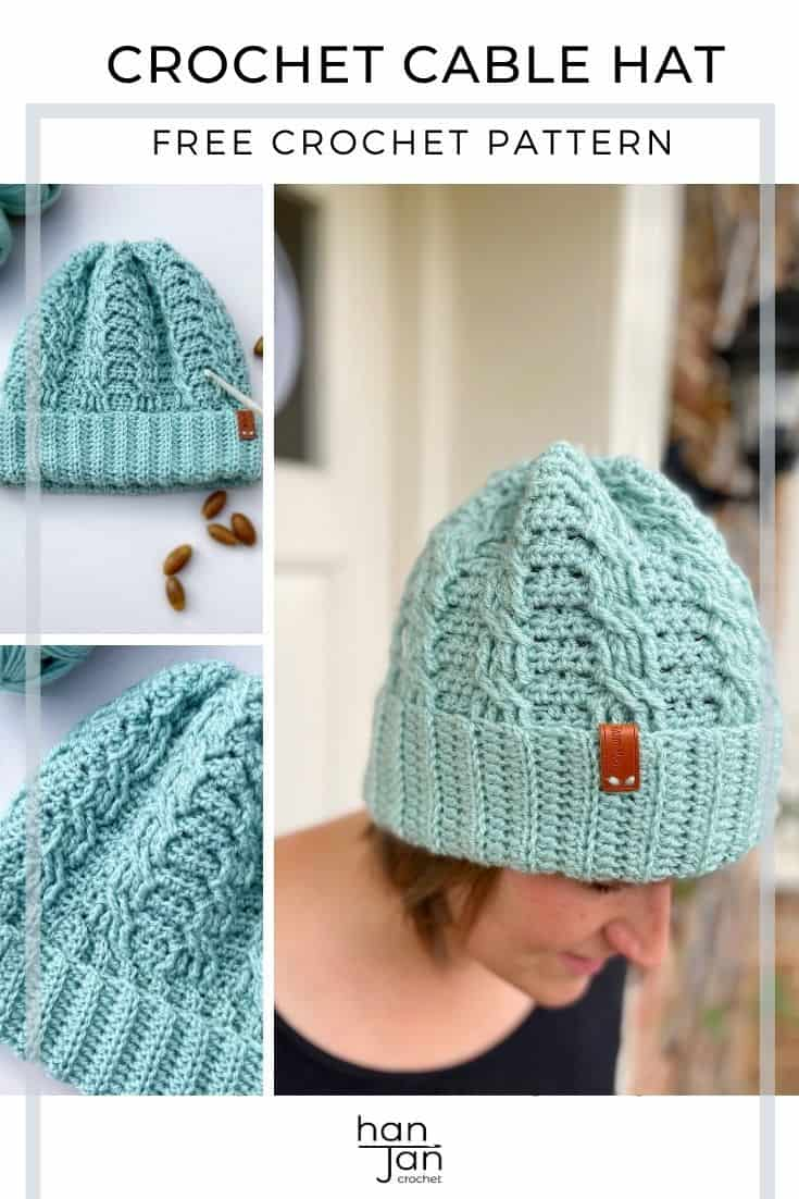 woman wearing mint green simple crochet cable hat,